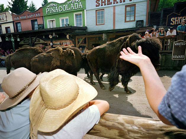 Germany; Eging am See; Westerncity Pullmann City, Street Parade with Buffalows