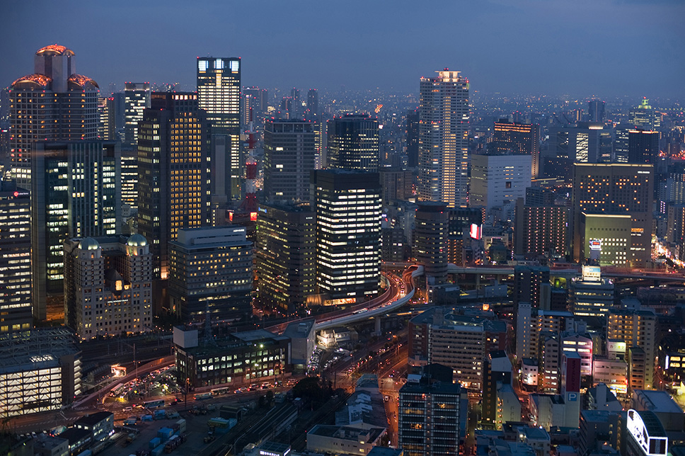 nighttime urban osaka