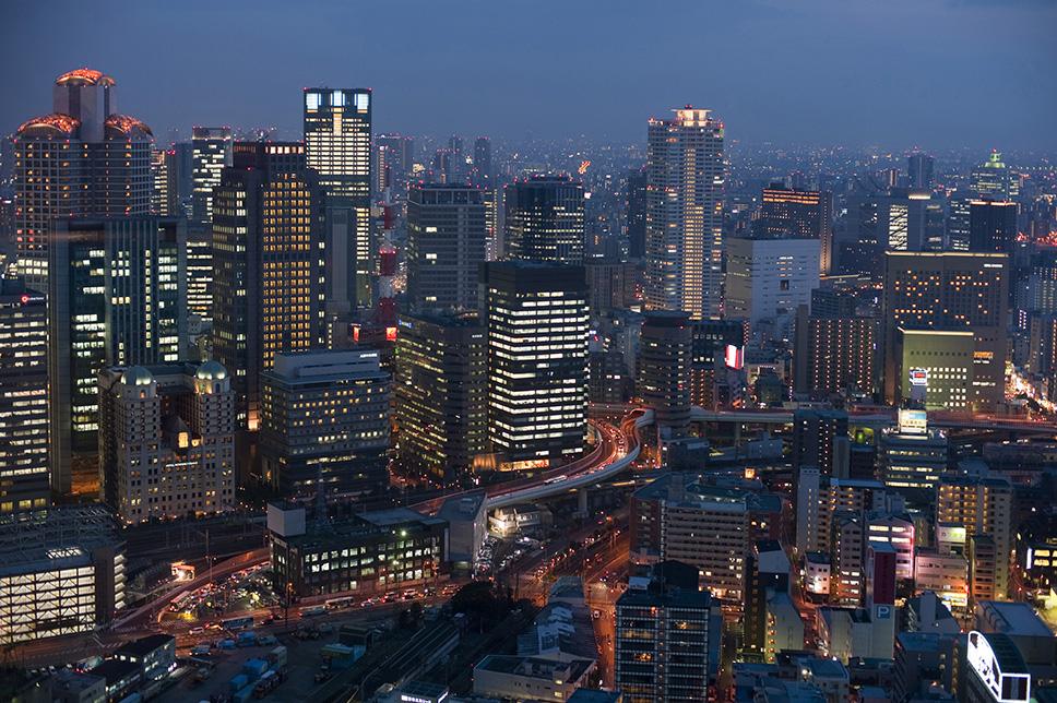 nighttime urban osaka