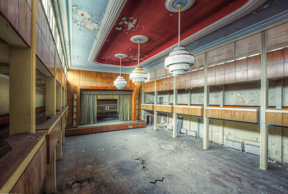 abandoned event hall with stage in hotel