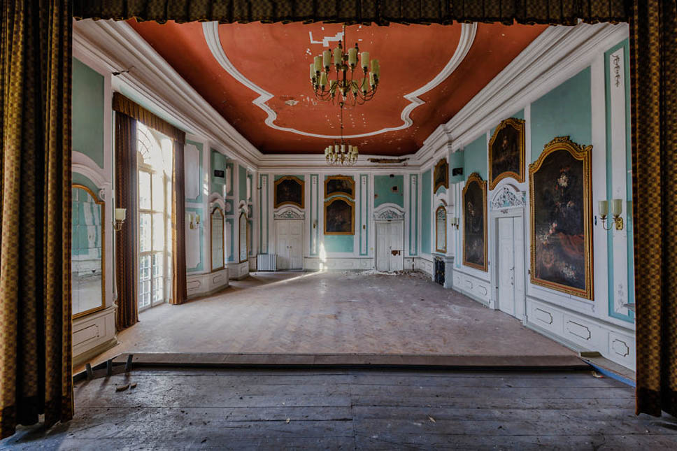 forgotten ballroom with stage in a castle