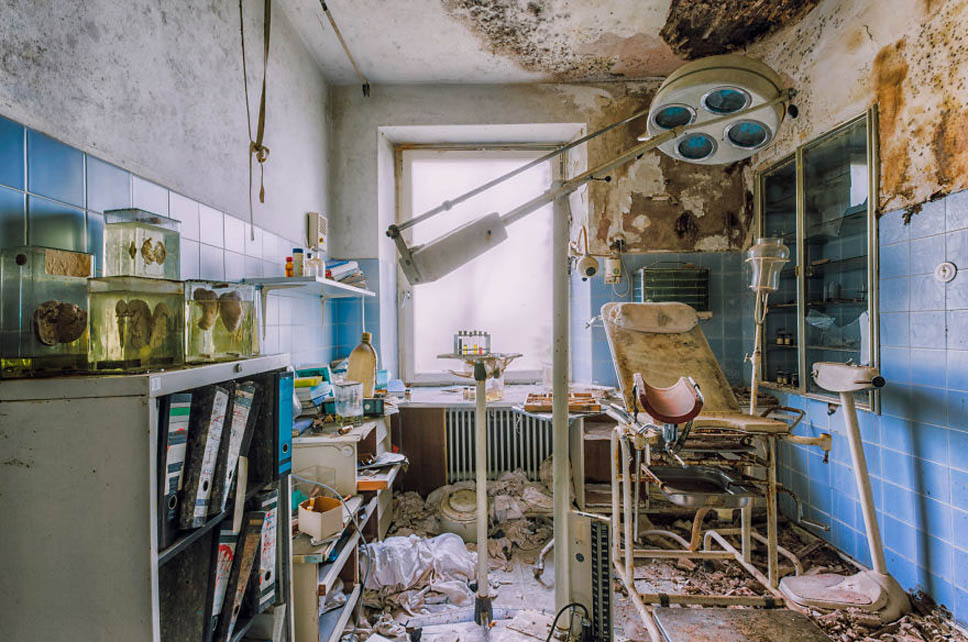 abandoned doctor room with chair