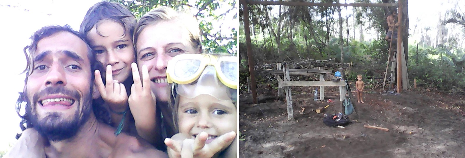 Casal brasileiro abandona cidade para viver com os filhos na floresta