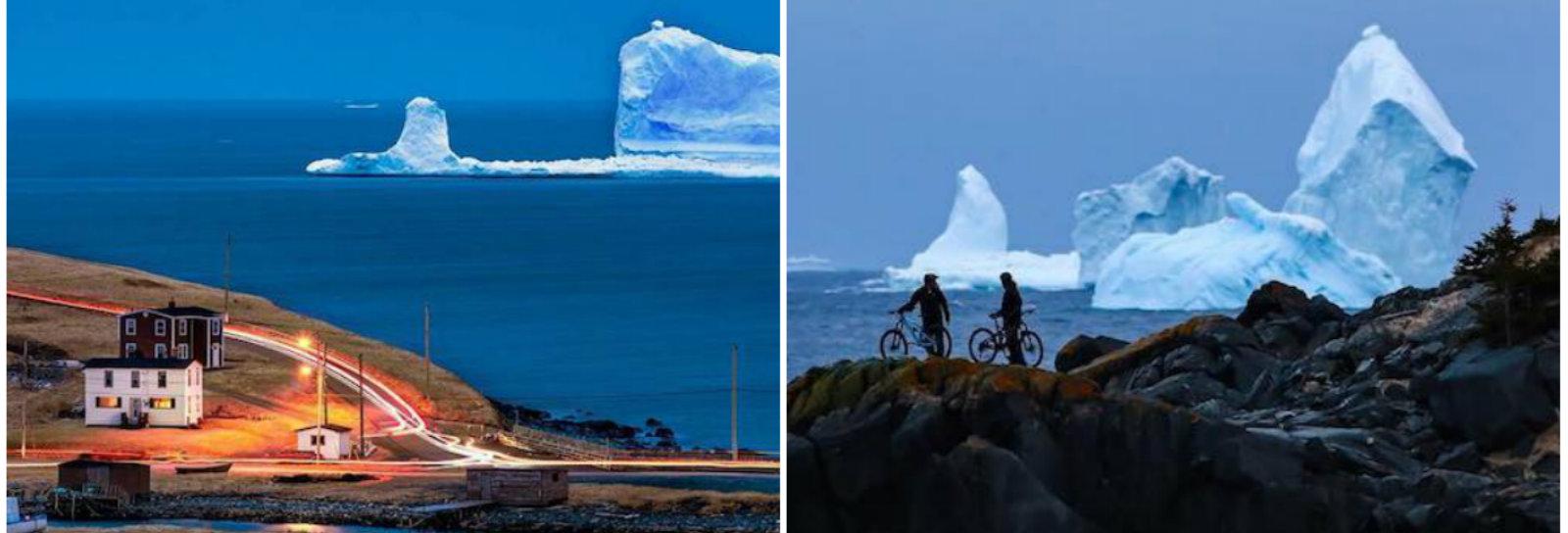Icebergue com mais de 45 metros de altura aparece em uma vila canadense