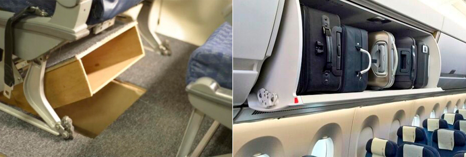 Estudantes criam genial compartimento de bagagem sob assento do avião