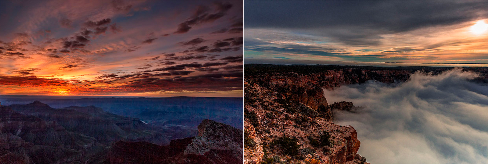 Este time-lapse capturou o fenômenos de inversão das nuvens no Grand Canyon