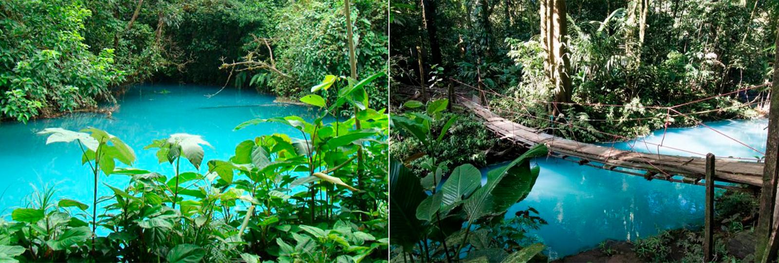 Rio azul turquesa na Costa Rica cria uma incrível ilusão de ótica natural